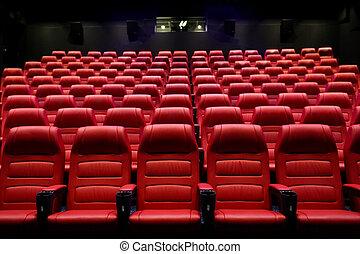 movie theater empty auditorium with seats - entertainment...