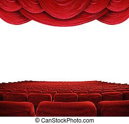 movie theater, met, rode gordijnen