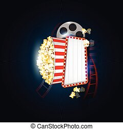 Movie theater vector banner sign - Movie theater banner sign...
