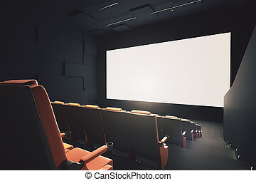 Movie theater with empty screen