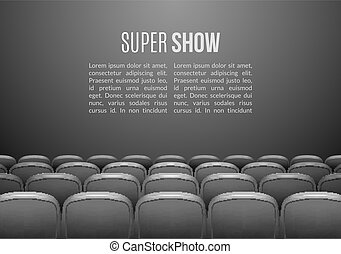 Movie theater with row of gray seats. Premiere event...