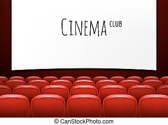 Movie theater with row of red seats. Premiere event...