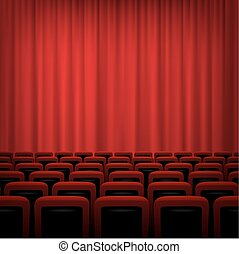 Movie theatre background with red curtains and chairs. Vector illustration.