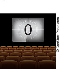 Movie theatre background with vintage screen and yellow chairs. Vector illustration.