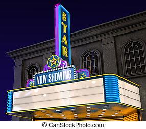 Movie Theatre - Exterior night shot of a retro illuminated...