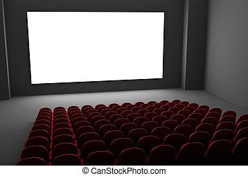 Movie theatre interior. Isolated white screen