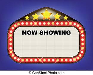 A movie theatre or theatre marquee with the text 'NOW SHOWING' with copy space for other text.