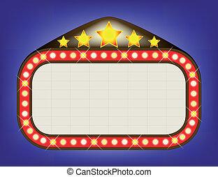 Movie Theatre Marquee - A blank movie theatre or theatre...
