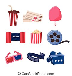 Movie Theatre Related Objects Set
