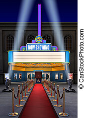 Movie Theatre & Ticket Box - Exterior night shot of a retro...