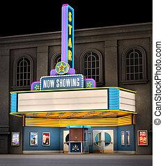 Movie Theatre & Ticket Box - Exterior night shot of a retro...