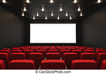 Movie theatre with blank screen