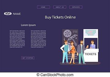 Landing web page template with Queue people buy cinema tickets at service movie ticket counter theater. Flat Art Vector illustration