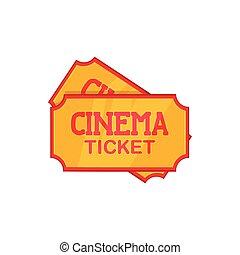 Movie ticket icon, cartoon style