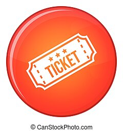 Movie ticket icon, flat style