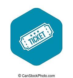 Movie ticket icon, simple style