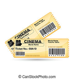 Movie Ticket - illustration of movie ticket on isolated ...