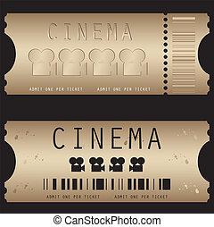 Movie ticket in different styles -