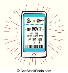 Movie ticket on smartphone screen