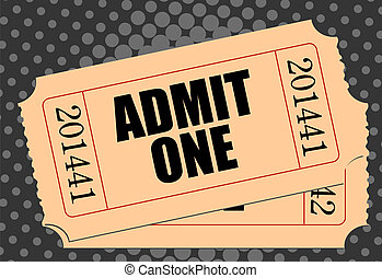 Movie ticket with half-tone gray background -realistic...