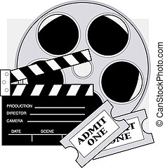 Movie Tickets - Clapboard,movie reel and admission tickets...
