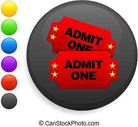 movie tickets icon on round internet button
