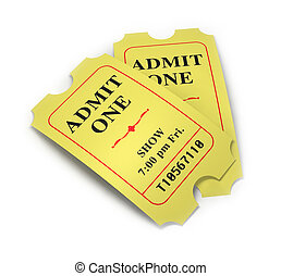 Movie Tickets - A pair of retro movie tickets on a white...