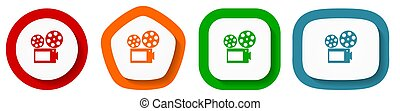 Movie vector icon set, flat design vector illustration in 4 colors options for webdesign and mobile applications