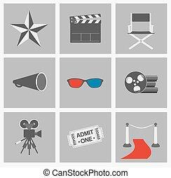 Movie vector icons set. Cinema flat design elements on grey background