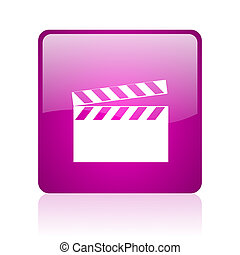 movie violet square web glossy icon