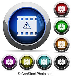 Movie warning round glossy buttons