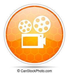 Movie web icon. Round orange glossy internet button for webdesign.