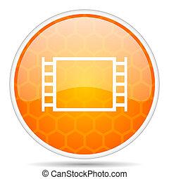 Movie web icon. Round orange glossy internet button for webdesign.