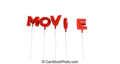 MOVIE - word made from red foil balloons - 3D rendered.