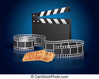 Moviefilm, tickets and clapperboard