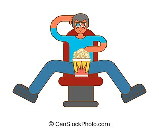 Moviegoer at cinema with popcorn. Stereo glasses. Watch movie