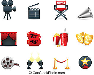 movies, industrie, film, verzameling, pictogram