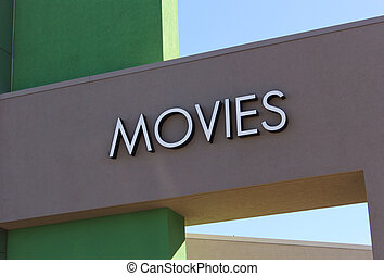 Movies Sign on Front of Theater Building