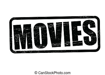 Movies - Stamp with word movies inside, vector illustration