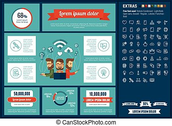 movilidad, plano, diseño, infographic, plantilla