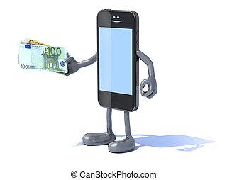 movilidad, smartphone, pagos, euro, conceptos