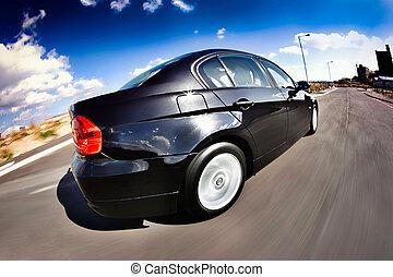 movimento, automobile, nero