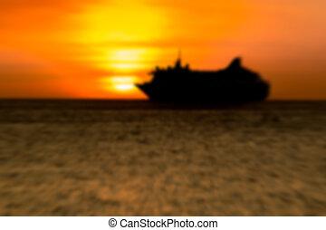 movimento, bote, silueta, pôr do sol, blurr