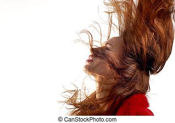 movimento, cabelo, menina, jovem