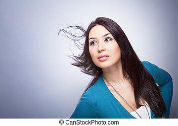 movimento, cabelo, mulher, jovem, um