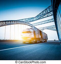 movimento, caminhão, borrão