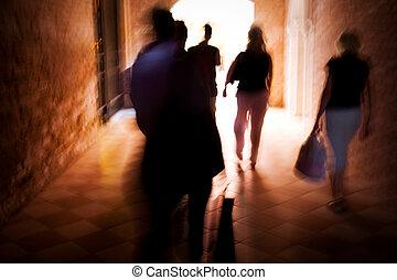 movimento, camminare, persone, sfocato