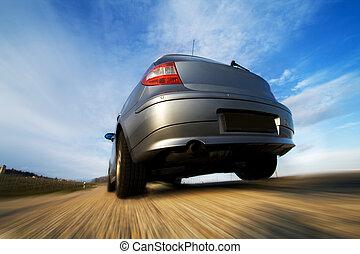 movimento, car, em movimento, rapidamente, borrão