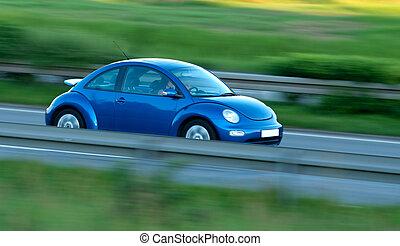movimento, car, rapidamente, borrão