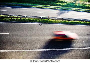 movimento, carro vermelho, borrão
